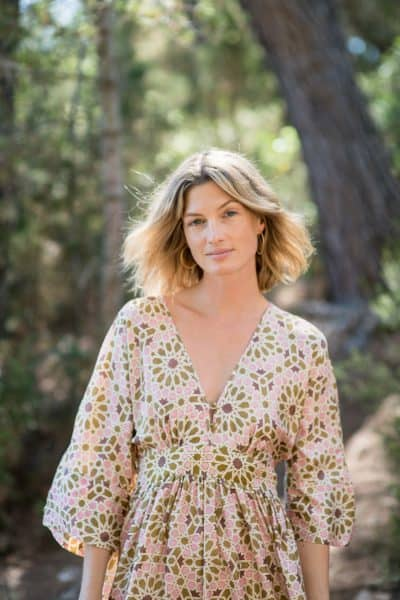 WIF Kimono Dress Silk Olive Green Star Tile Print close up