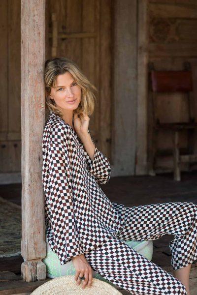 3 Checks WIF a-Line Top & Silk Trousers silk satin