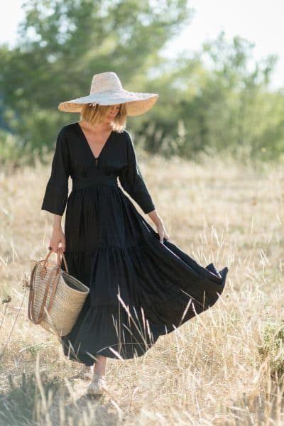 WIF Kimono Dress Silk Bishnupuri Black with hat