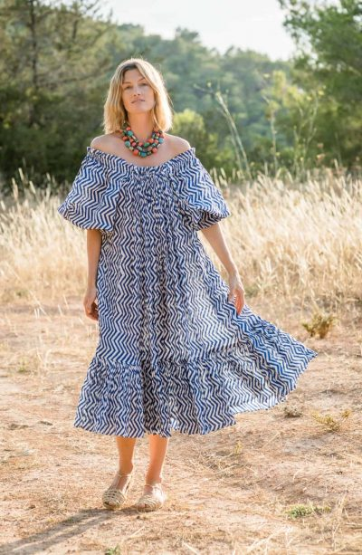 sea dress in blue and white zigzag