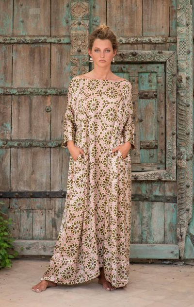 Aloka Tunic Long Olive Green Mosaic front off the shoulders