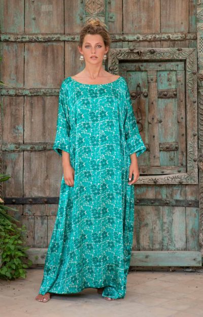 Aloka Tunic Long Green Buna Floral front