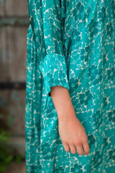 Aloka Tunic Long Green Buna Floral sleeve close up