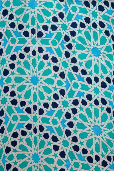 blue mosaic silk