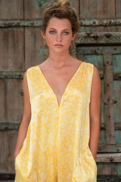 WIF Onesie Yellow Fern Silk front close up