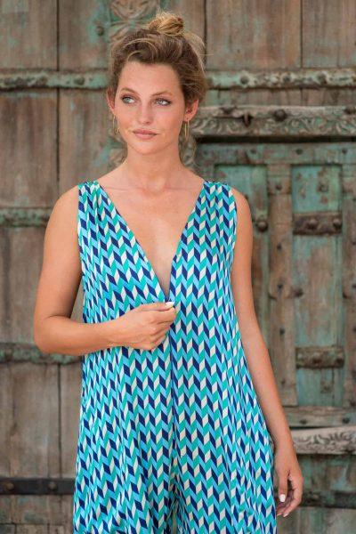WIF Onesie Blue Chevron Silk front close up