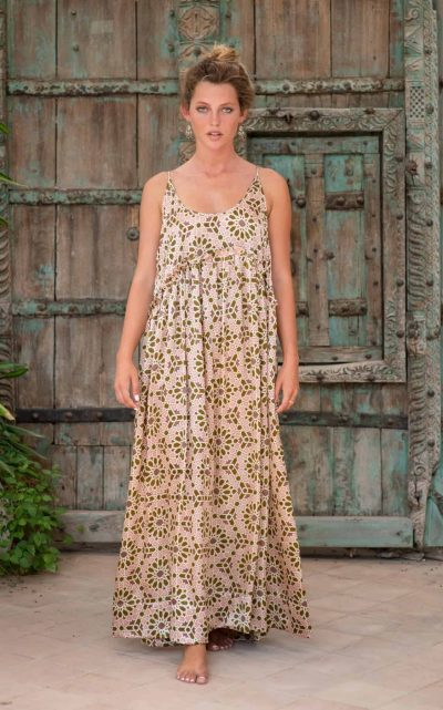 WIF Babydoll Dress Long olive green mosaic front