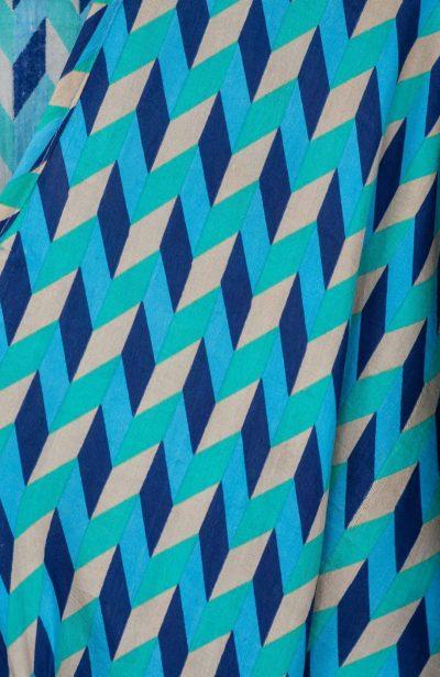 blue chevron bishnupuri silk print