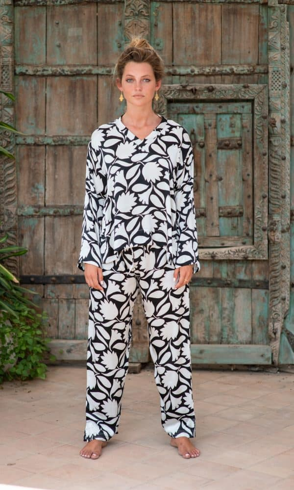 WIF Silk A-Line Top & WIF Silk Trousers black and white print