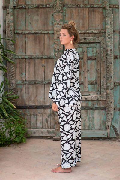 WIF Silk A-Line Top & WIF Silk Trousers side view of b&w rani print