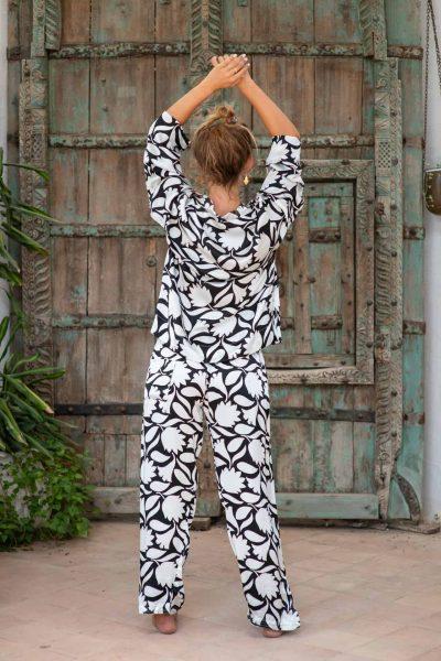 WIF Silk A-Line Top & WIF Silk Trousers b&w leaf print
