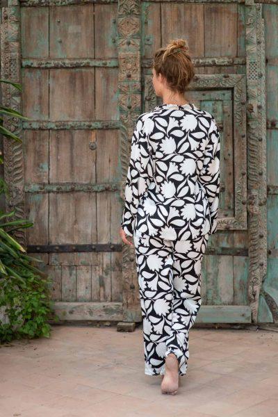 WIF Silk A-Line Top & WIF Silk Trousers b&w floral print
