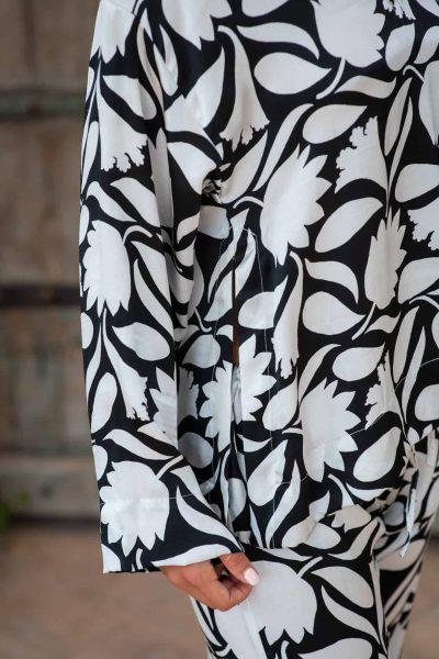 WIF Silk A-Line Top & WIF Silk Trousers close up b&w rani print