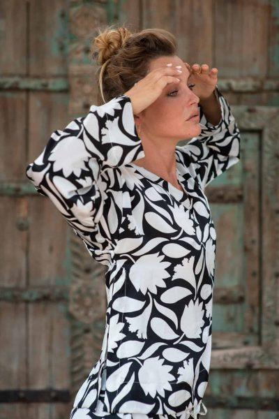 WIF Silk A-Line Top & WIF Silk Trousers b&w rani print