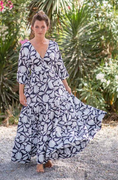 B&W Rani Bishnupuri Silk Kimono Dress front
