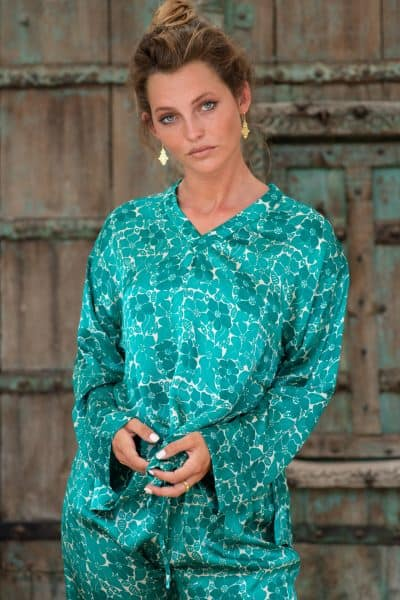 WIF Silk A-Line Top & Trousers green floral