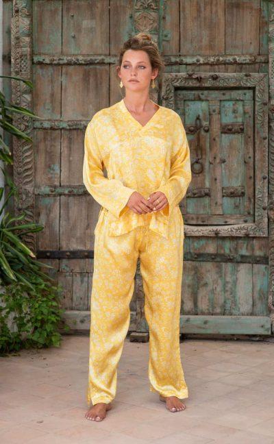 WIF Silk A-Line Top & Trousers yellow fern print in silk satin