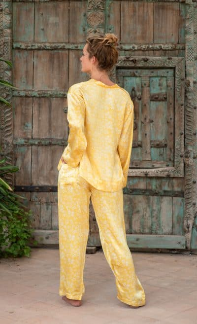 WIF Silk A-Line Top & Trousers back view of yellow fern print