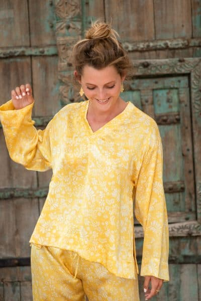 WIF Silk A-Line Top & Trousers in a yellow silk with white flowers