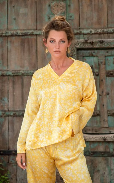 WIF Silk A-Line Top & Trousers white leaf print on yellow