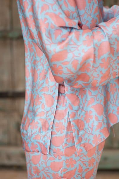 WIF Silk A-Line Top & Trousers details of pink leaf print