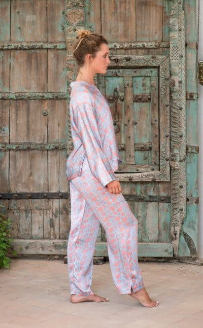 WIF Silk A-Line Top & Trousers side view of silver Jaipur print