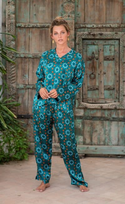 WIF Silk A-Line Top & Trousers teal star tile