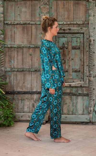 WIF Silk A-Line Top & Trousers in star tile print