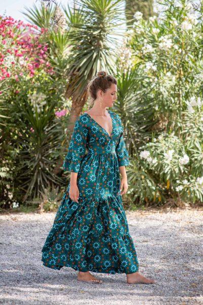 Teal Star Tile Bishnupuri Silk Kimono Dress right