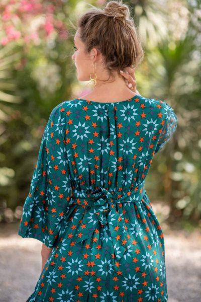 Teal Star Tile Bishnupuri Silk Kimono Dress back close up