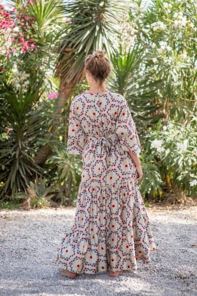 Tea Mosaic Bishnupuri Silk Kimono Dress back