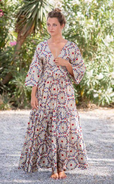 Tea Mosaic Bishnupuri Silk Kimono Dress front
