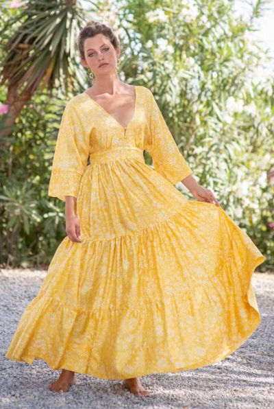 Yellow Fern Bishnupuri Silk Kimono Dress front swirl