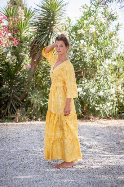 Yellow Fern Bishnupuri Silk Kimono Dress left