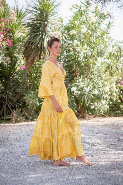 Yellow Fern Bishnupuri Silk Kimono Dress right