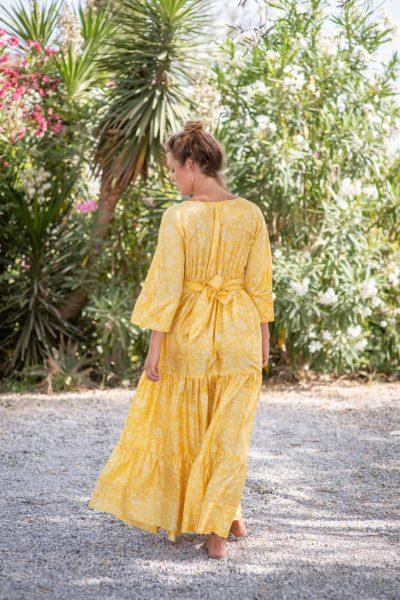 Yellow Fern Bishnupuri Silk Kimono Dress back