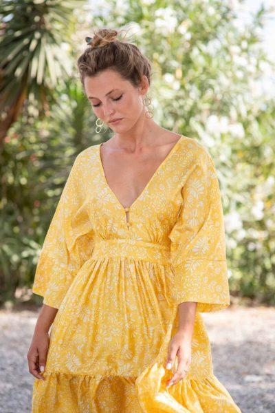 Yellow Fern Bishnupuri Silk Kimono Dress front close up
