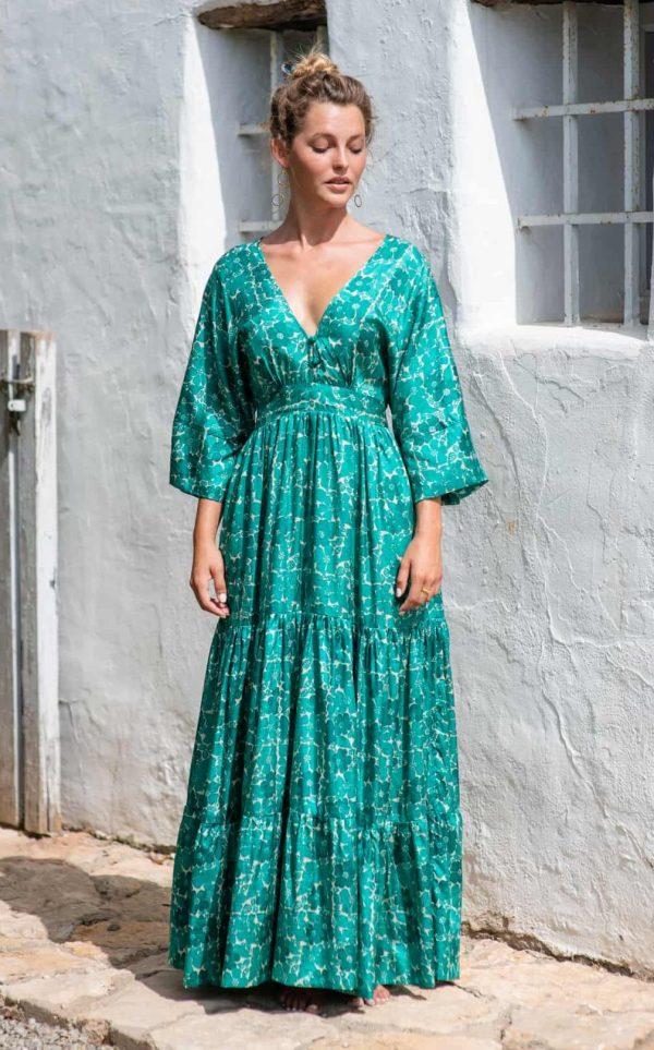 Green Buna Floral Bishnupuri Silk Kimono Dress front