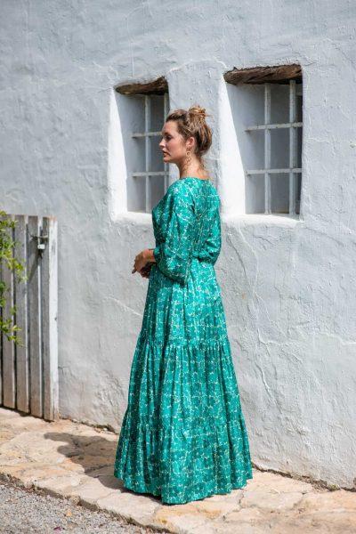 Green Buna Floral Bishnupuri Silk Kimono Dress left