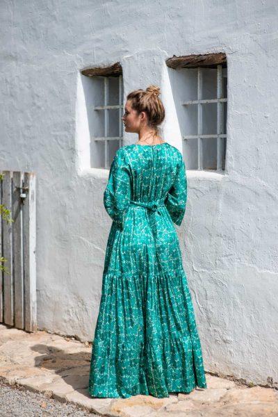 Green Buna Floral Bishnupuri Silk Kimono Dress back side