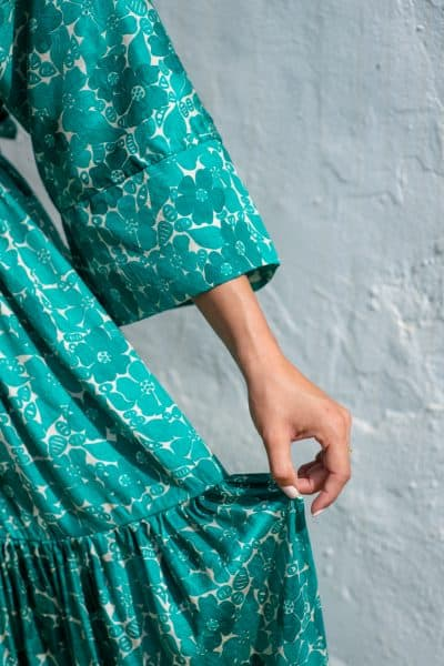 Green Buna Floral Bishnupuri Silk Kimono Dress sleeve close up
