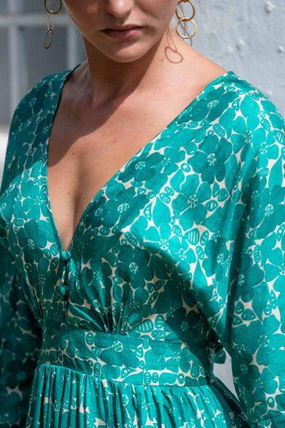 Green Buna Floral Bishnupuri Silk Kimono Dress front close up