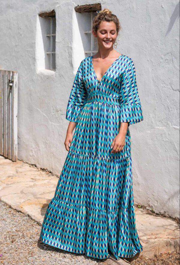 Blue Chevron Bishnupuri Silk Kimono Dress front view