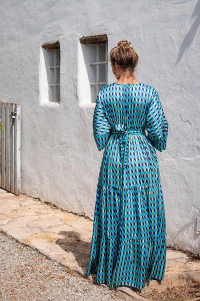 Blue Chevron Bishnupuri Silk Kimono Dress back