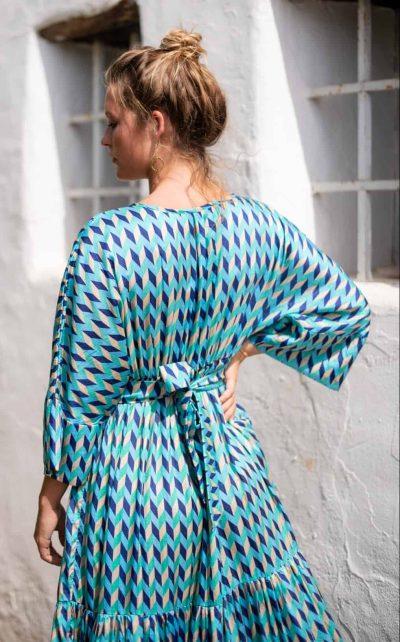 Blue Chevron Bishnupuri Silk Kimono Dress back close up