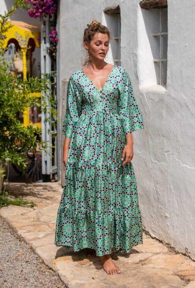 Blue Mosaic Bishnupuri Silk Kimono Dress front