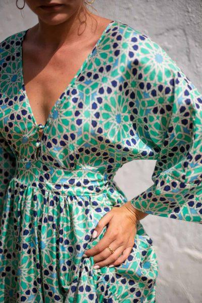 Blue Mosaic Bishnupuri Silk Kimono Dress side close up
