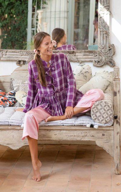 pink silk trousers with tartan purple jacket