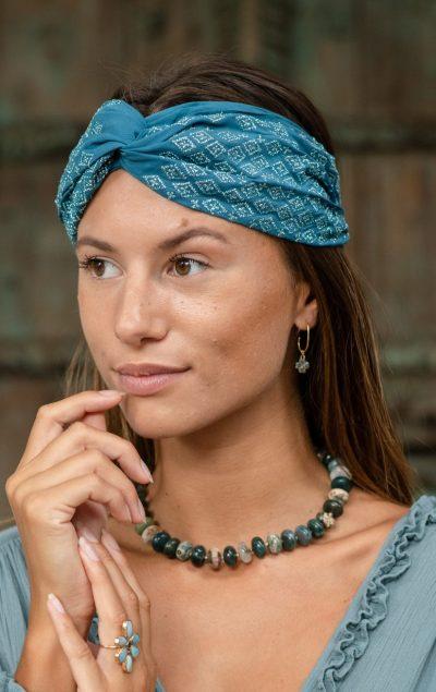 blue silk headband with forest jasper necklace