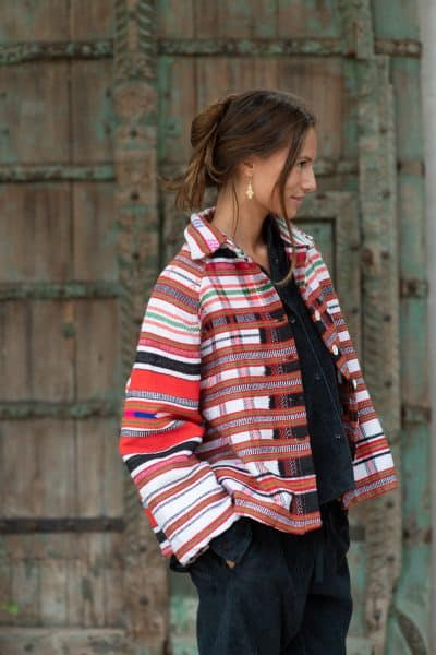 wool jacket with stripes